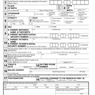Application for a Social Security Card
